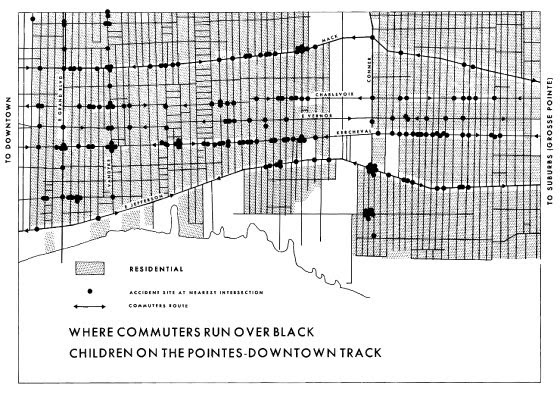 Map - Where commuters run over black children on the pointes-downtown track